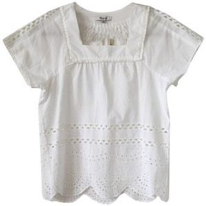 New Madewell Angelica White Eyelet Blouse Medium